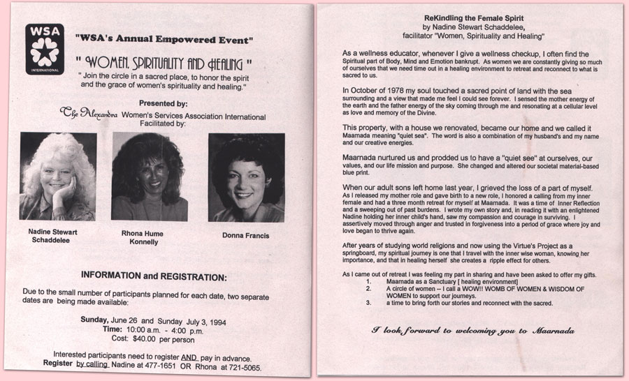 Alexandra Women's Services Association Workshop Brochure